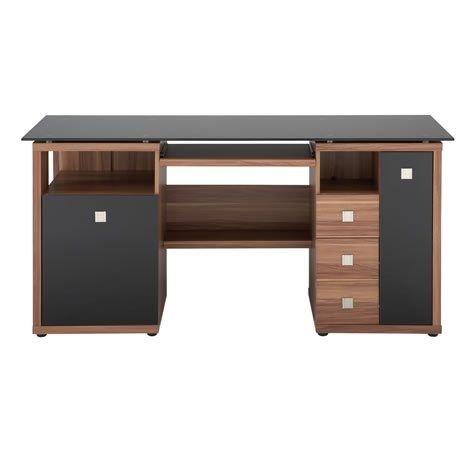 Prime Saratoga Computer Desk Pc Workstation Glass Top Walnut Download Free Architecture Designs Ferenbritishbridgeorg