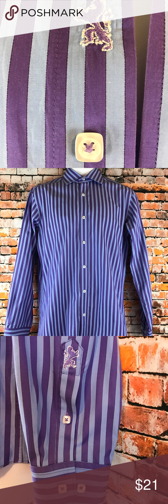 Bugatchi Uomo Designer Men's Size S Button Shirt Barely Worn. Bugatchi Uomo Mens Size Small Shirt. Long sleeves.  Purple and blue striped pattern.   Square Button front and at the cuffs. Made of 100% Cotton. Chest approximately 43 inches and length approximately 29 1/2 inches. Bugatchi Shirts Casual Button Down Shirts