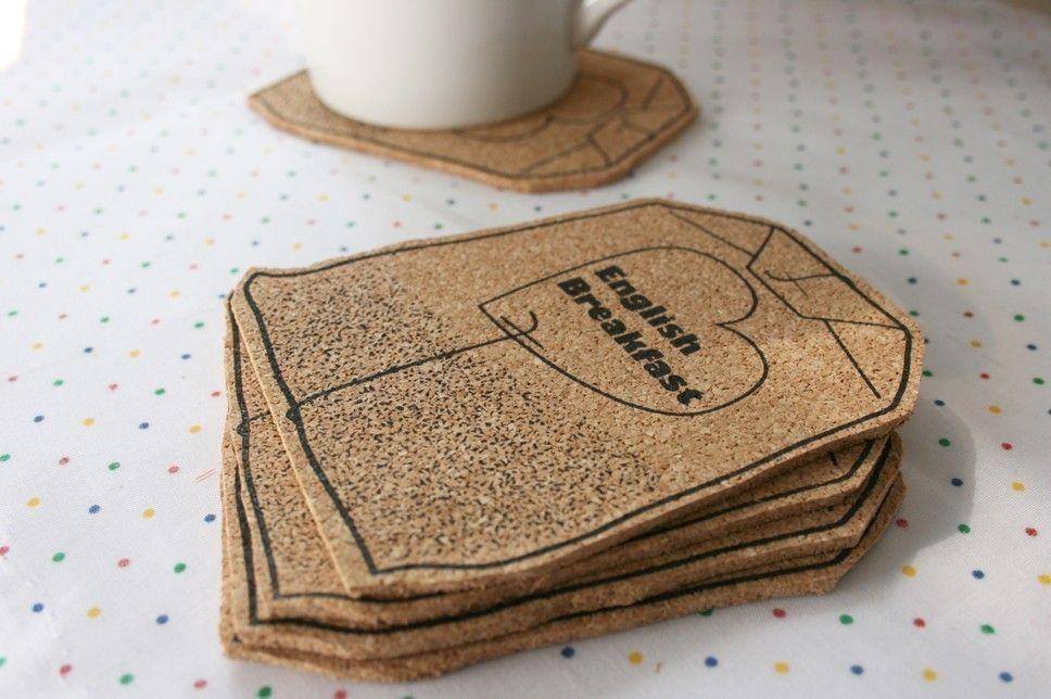 Tea Bag Coasters Set Screen Printed Cork Favorite