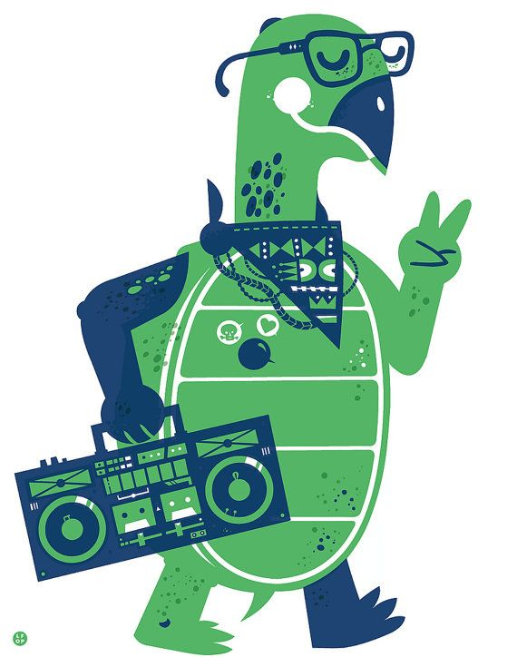Green And Blue Turtle With Boombox Screenprint Art Print By Lfop 30 00 Screen Printing Art Screen Printing Art