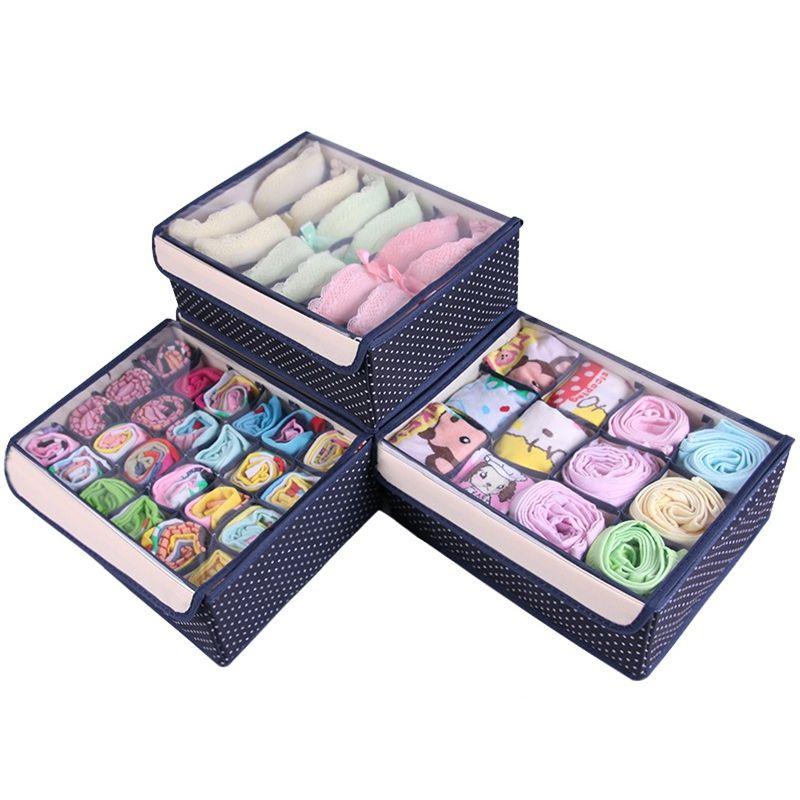 Charmant Storage Box Set With Transparent Cap Bra Socks Underwear Storage Box  Underwear Organizer 3Pcs Set 32