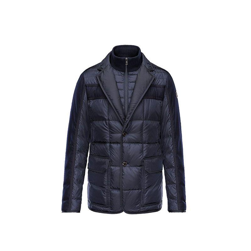 Men Moncler Dark Blue Ardenne Elegant Classic Padded Blazer Jacket