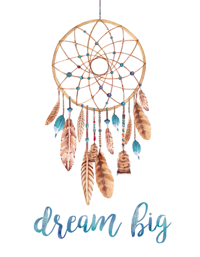 A motivational bohemian art print that says Dream Big with ...