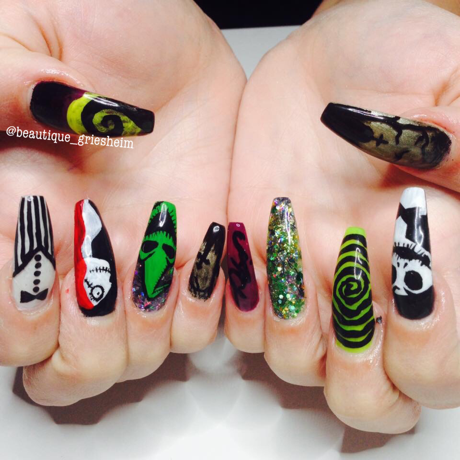 Long Stiletto Nails with Handpainted Nightmare before Christmas ...
