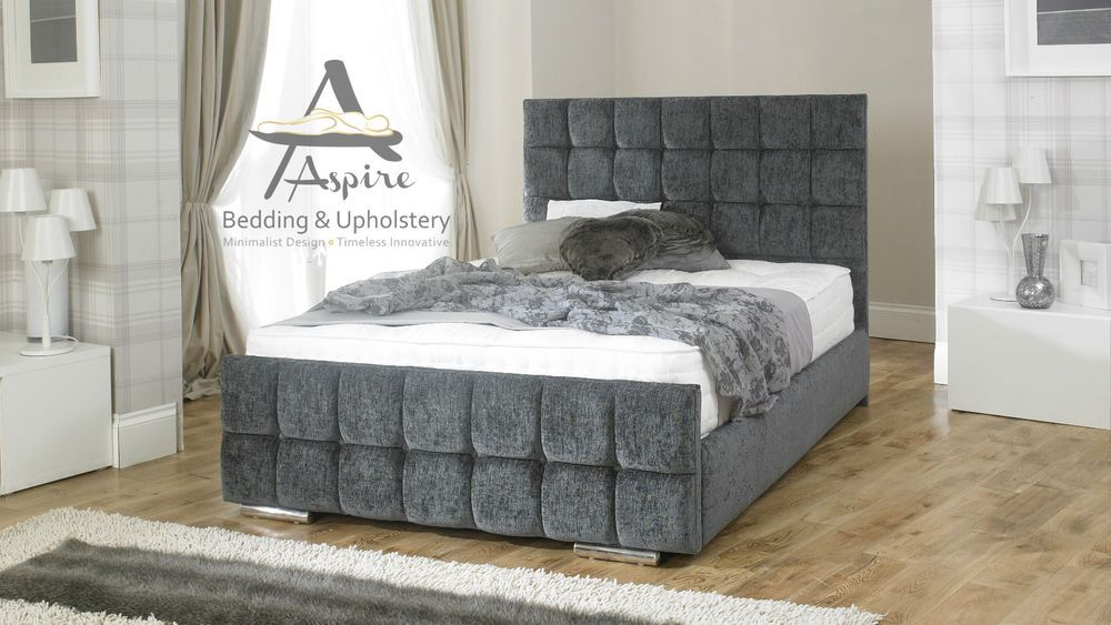 details about nevada cube fabric upholstered bed frame storage 4u00276 double 5ft king size