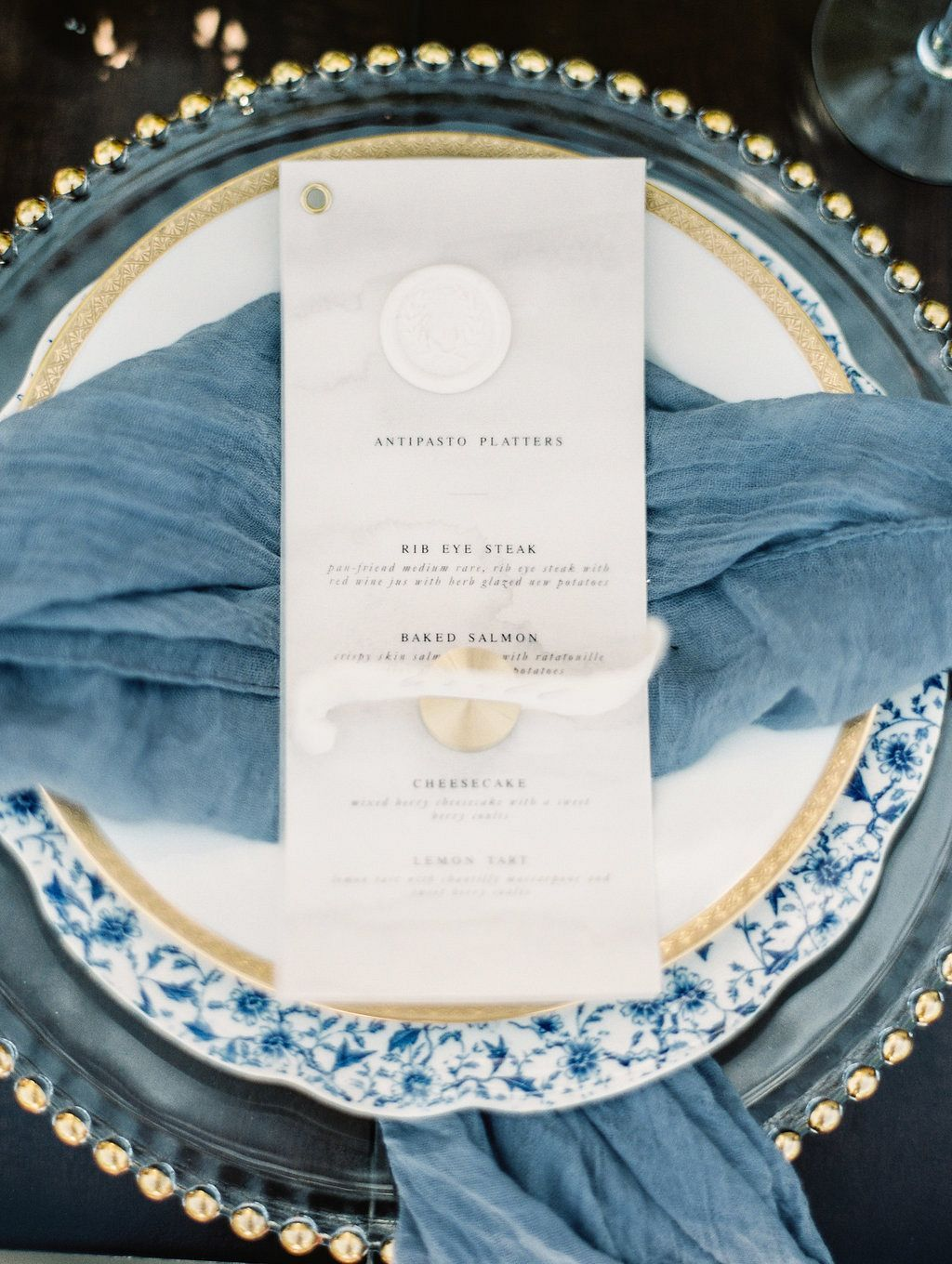 Sophisticated blue, grey, and gold wedding ideas | Maya\'s wedding ...