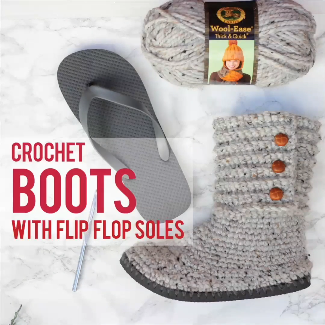 You'll be a DIY goddess of cozy with these crochet boots with flip flops for soles! They make excellent slippers or UGG-like sweater boots to wear around town. Learn how with this free pattern + video tutorial! #makeanddocrew #freecrochetpattern #crochetboots