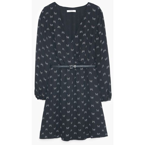 Belt Printed Dress (€32) via Polyvore featuring dresses, cross print dress, long sleeve dress, v neck dress, pattern dress and longsleeve dress