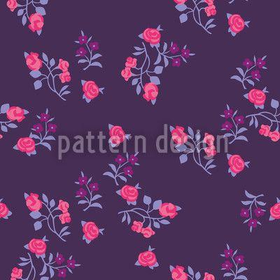Scattered Flowers On Lilaq Seamless Pattern Seamless Pattern by Katrin Kristjansdottir at patterndesigns.com