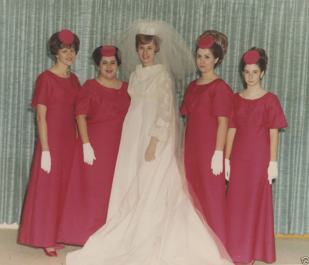 Vintage mid century modern wedding gown bridesmaids dark pink vintage mid century modern wedding gown bridesmaids dark pink color kodak 60s photo ombrellifo Image collections