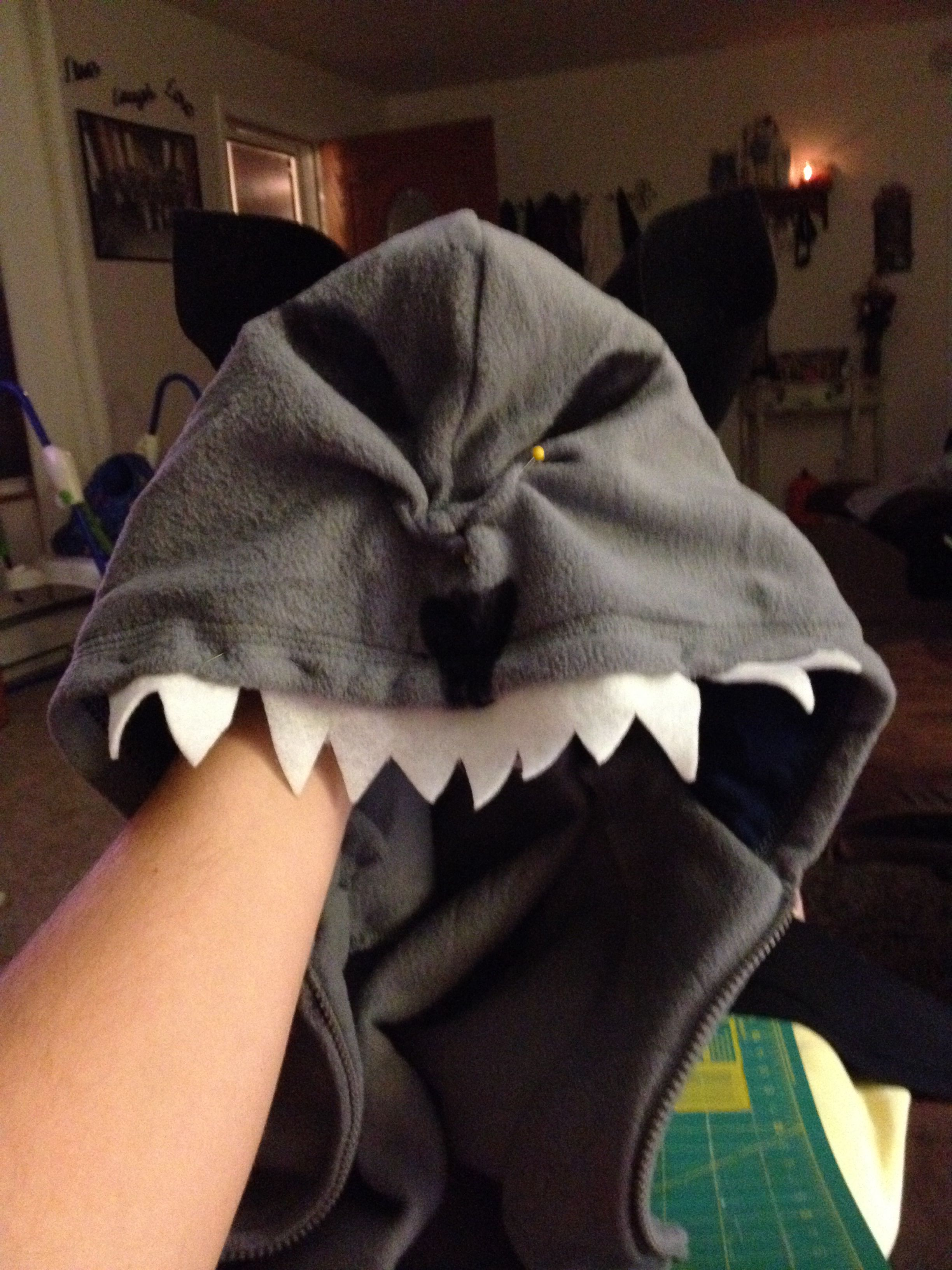 "Wolf hoodie for ""Little Red Riding Hood"" Halloween costume! Easy and fun!! My son still wears it!! 2013"