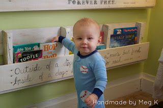Handmade by Meg K: Ben's Wooden Crate Bookshelves