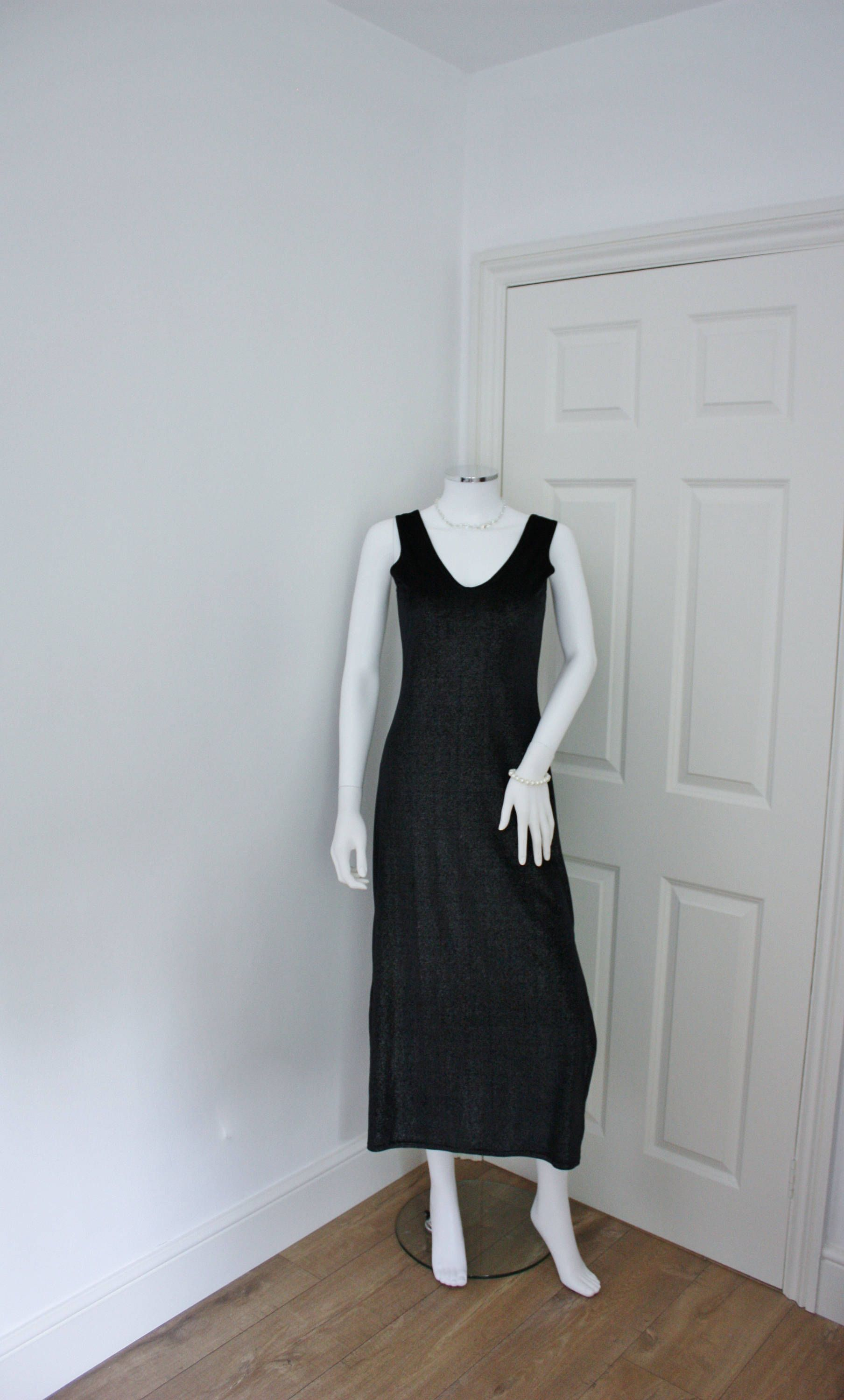 Black maxi dress long length form fitting extra small size