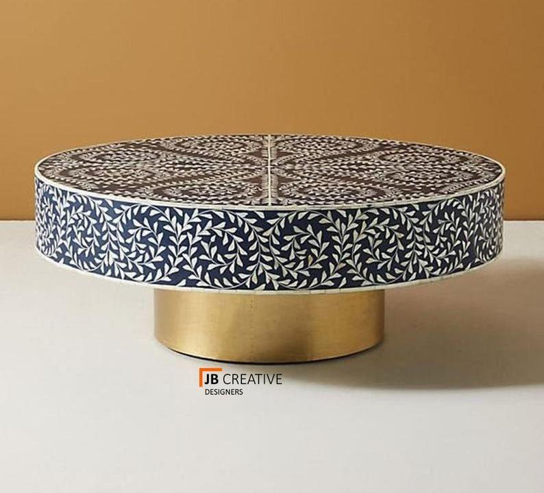 Bone Inlay Floral Design Round Coffee Table Blue Coffee