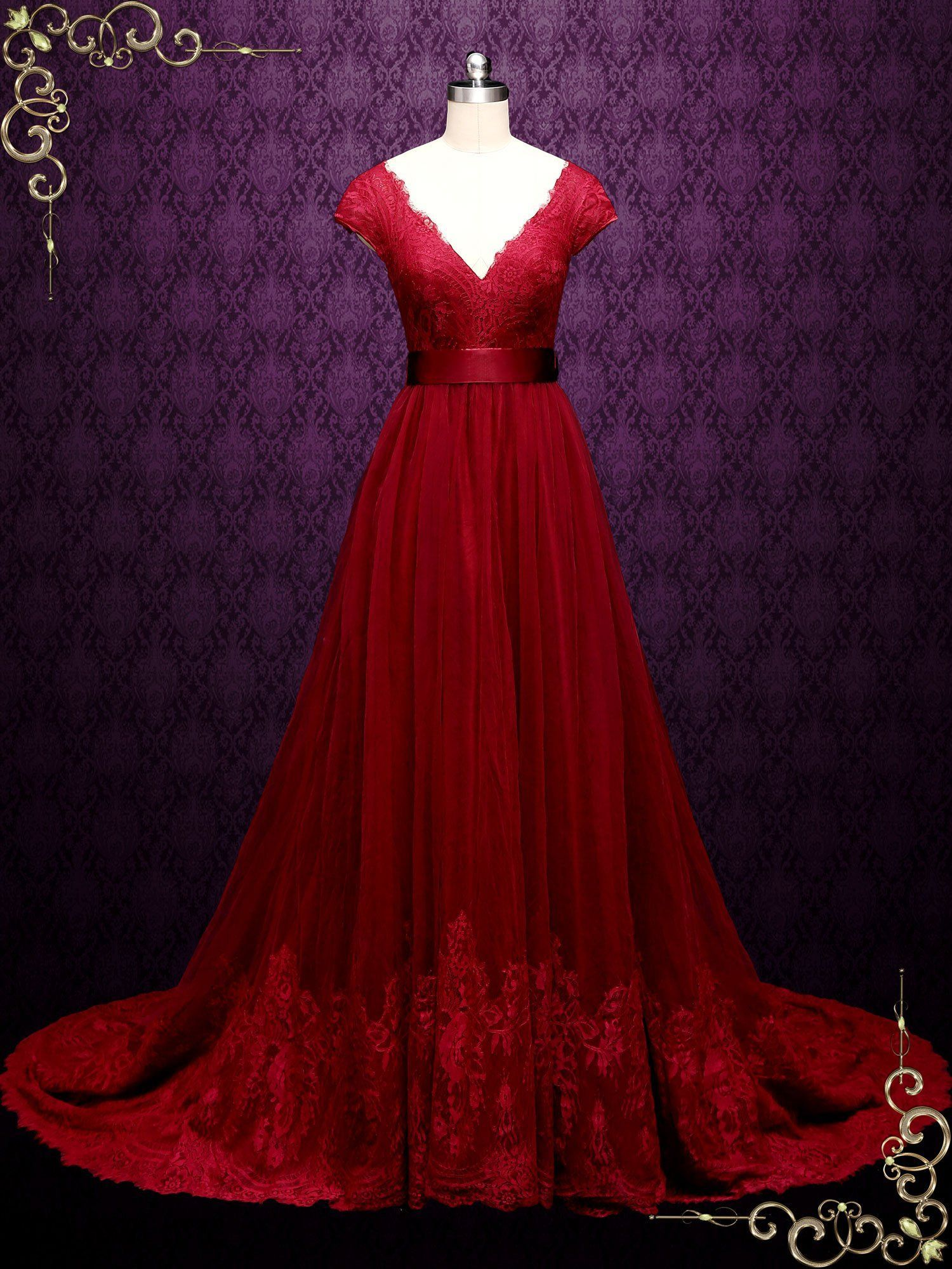 Burgundy Lace A Line Wedding Dress With Short Sleeves Linden Ieie Wedding Dress Styles Chart A Line Wedding Dress Red Wedding Dresses [ 2000 x 1500 Pixel ]