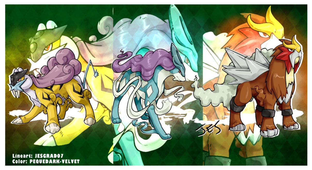 Pokemon fanart legendary beasts by pequedarkvelvet on
