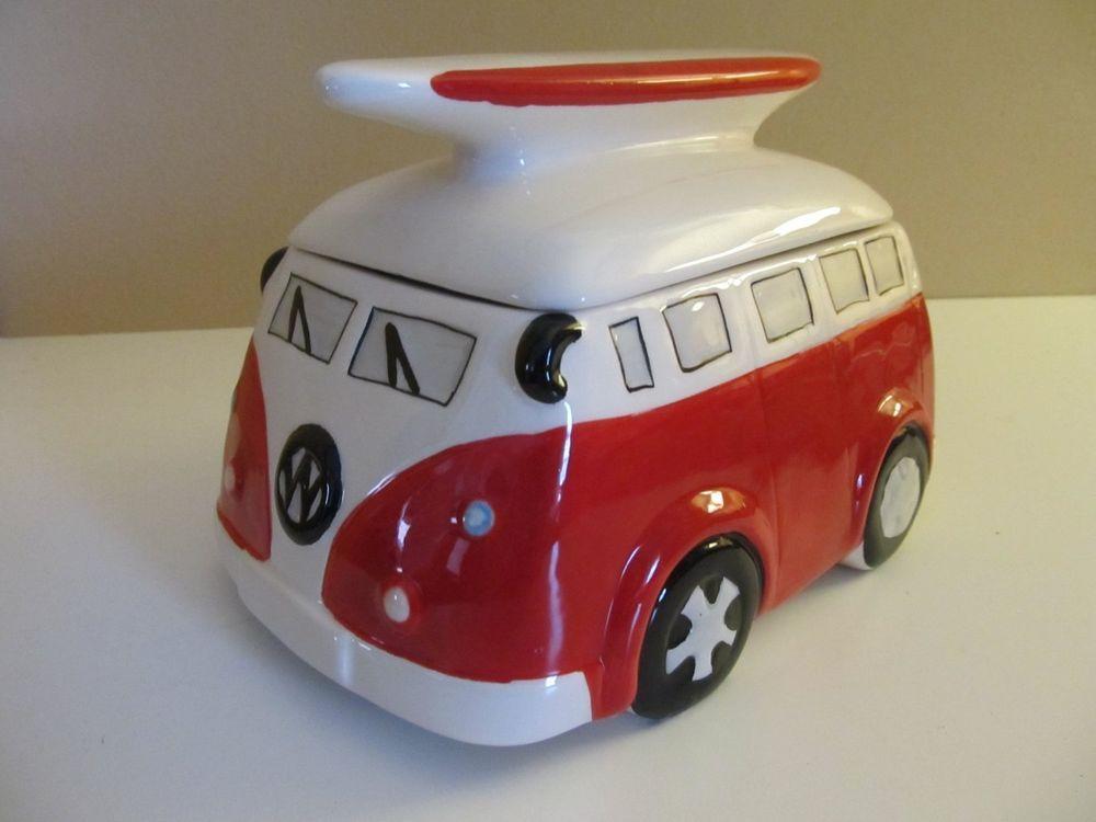 Vw Camper Van Cookie Jar Red