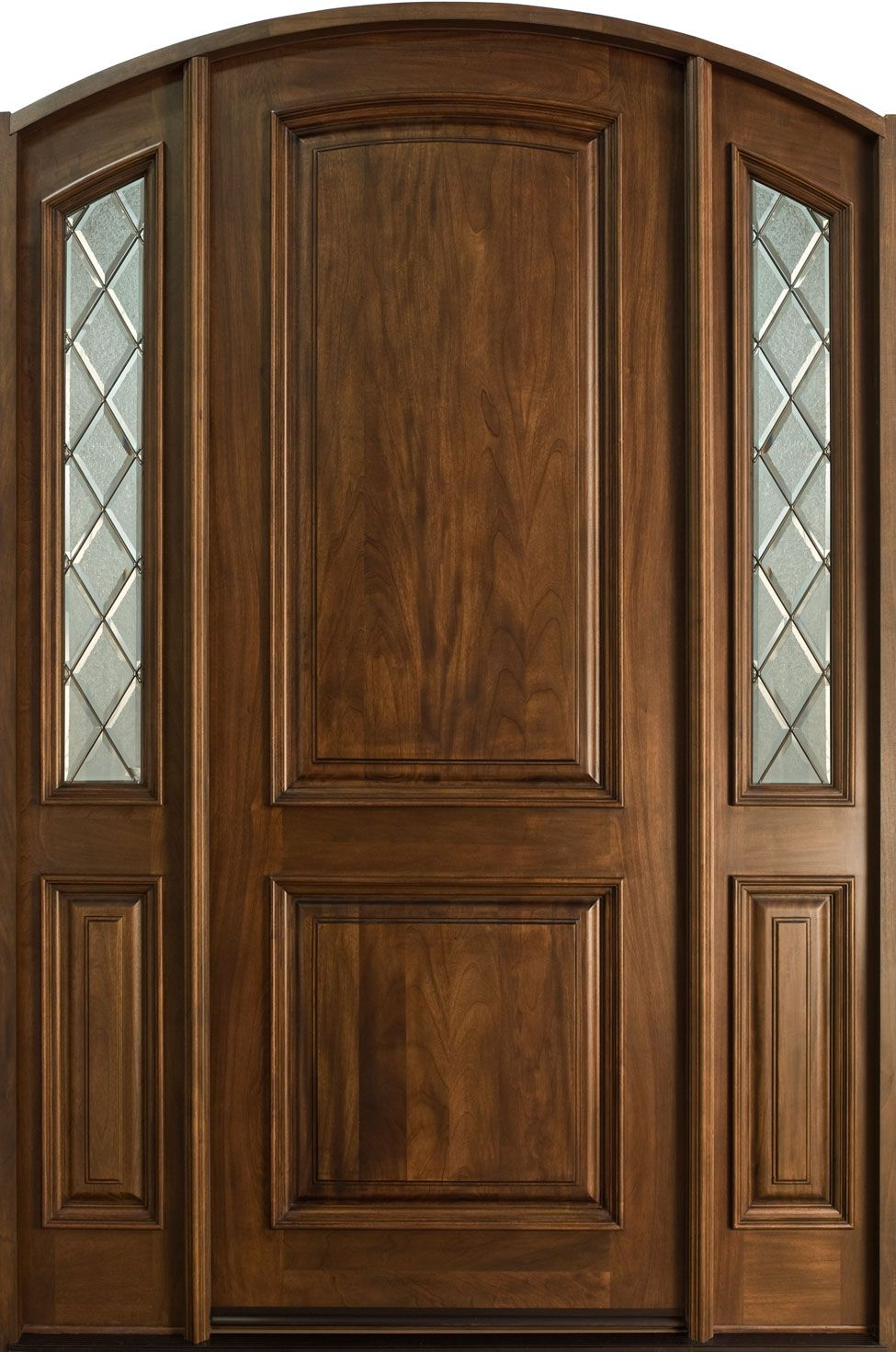 Entry door in stock single with 2 sidelites solid wood for Wooden single door design for home
