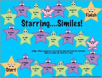 Simile Game Board For Speech Therapy Simile Teaching Fun Figurative Language