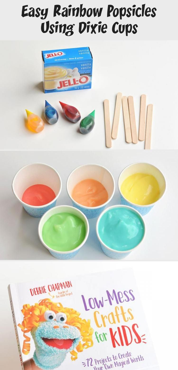 Easy Rainbow Popsicles Using Dixie Cups Recipes For Dinner These Easy Rainbow Popsicles Are So F Rainbow Popsicles Popsicles Crockpot Recipes For Kids