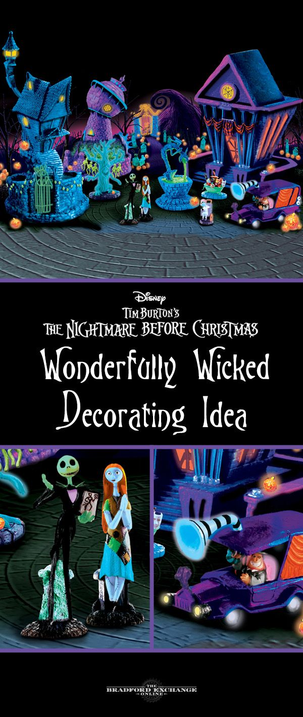 relive disney tim burtons the nightmare before christmas when you decorate with this black light village - When To Decorate For Halloween