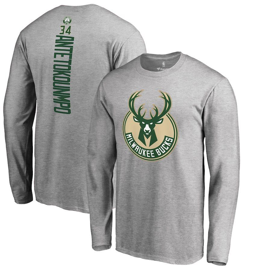 f4457d197 Giannis Antetokounmpo Milwaukee Bucks Fanatics Branded Team Backer Name &  Number Long Sleeve T-Shirt – Heathered Gray