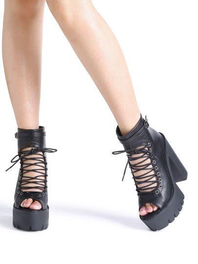 9a54a064ee1 Black Peep Toe Lace Up Platform Chunky Heeled Sandals
