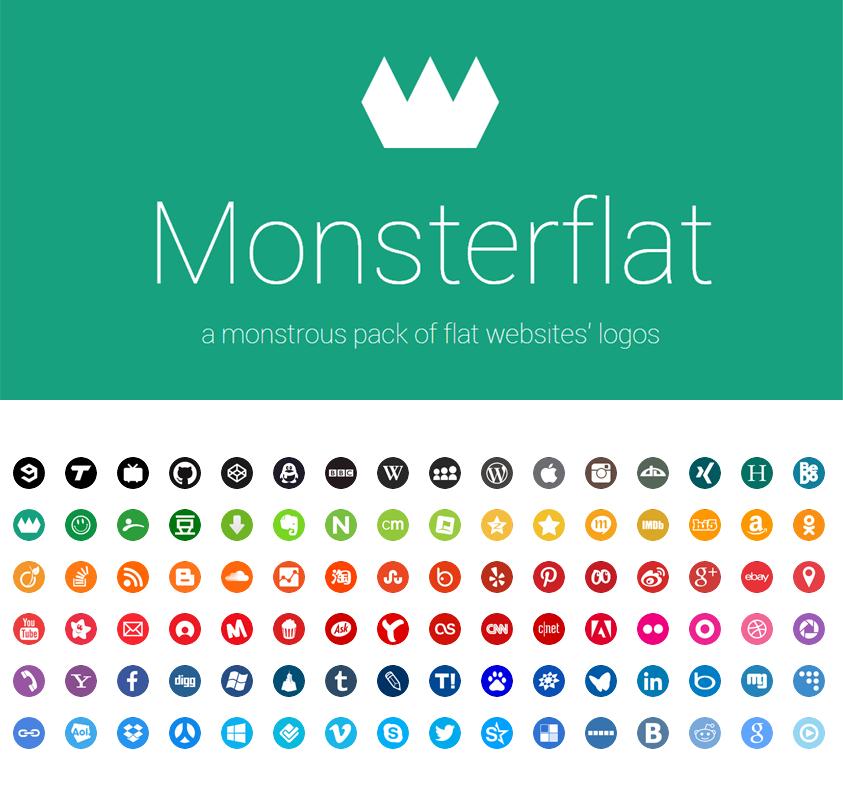 Monsterflat, Adobe, CSS, deviantART, Dribbble, Email