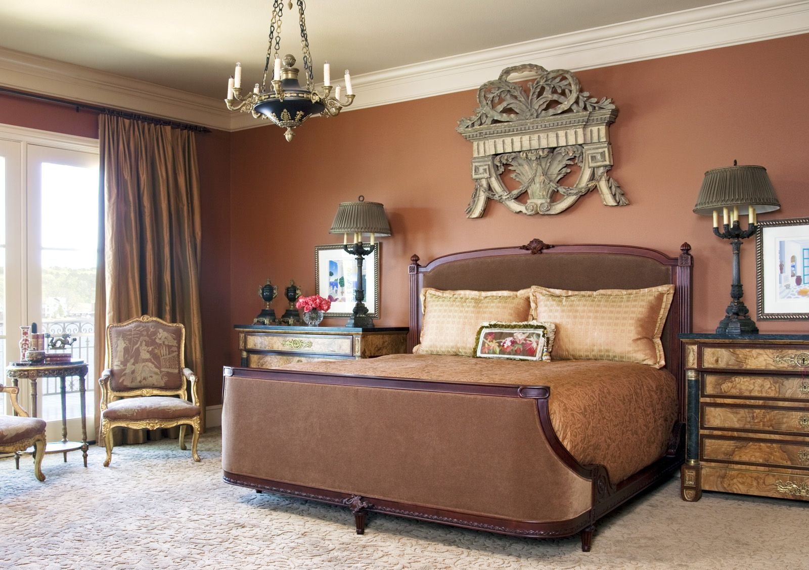 astounding red bedroom walls will | rust red bedroom walls, white crown molding | Paint it ...