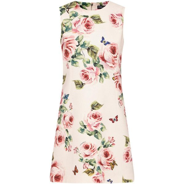 4cafa7123f42f DOLCE GABBANA Rose Print Shift Dress ❤ liked on Polyvore featuring dresses, light  pink dress, dolce gabbana dress, sleeveless dress, pink dress and pattern  ...