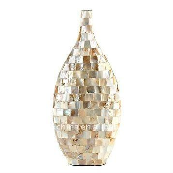 white mosaic glass vase