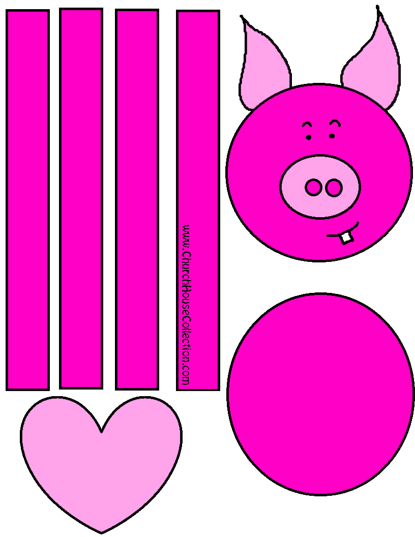 Pig Craft For Valentine\'s Day For Kids -Coloring Page Printable Free ...