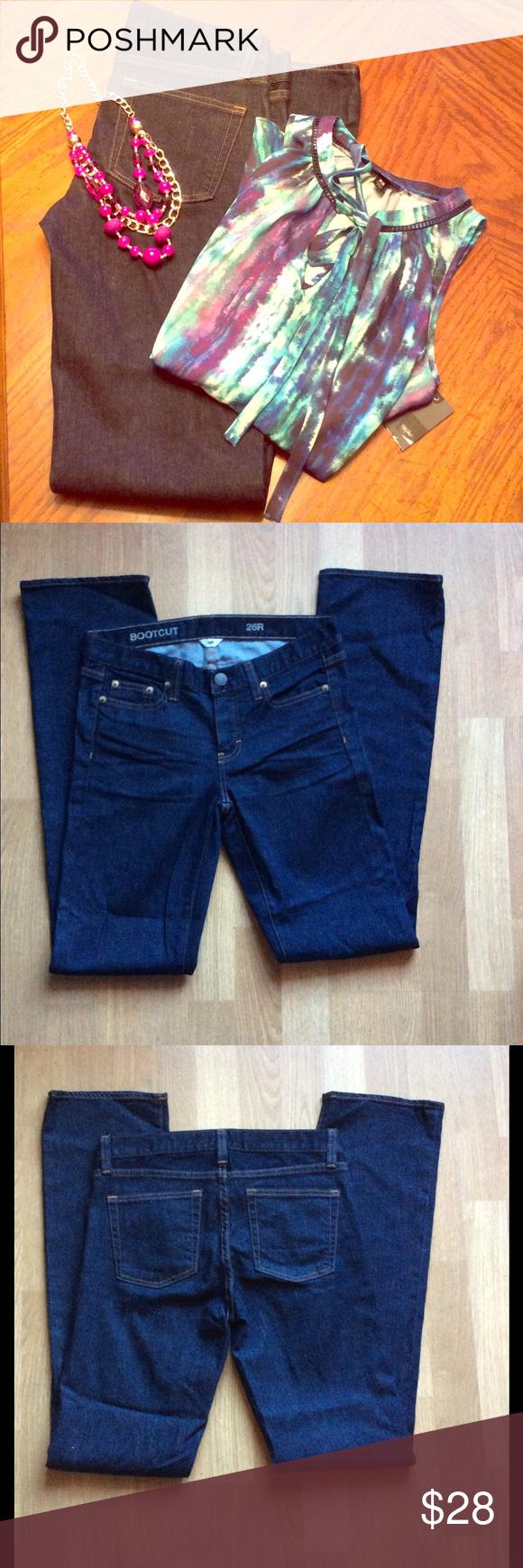 J. Crew Jeans NWOT J Crew jeans. Size 26/R. Dark denim. Boot cut. 93% cotton. 6% polyester 1% spandex. NWOT J. Crew Jeans Boot Cut
