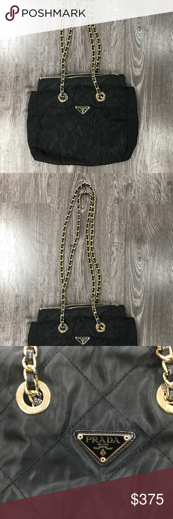 fdde0b006c Authentic Prada Quilted Nylon gold chain handbag Beautiful Authentic Orade  black quilted shoulder bag with Douglas long chain- EXCELLENT condition..  light ...