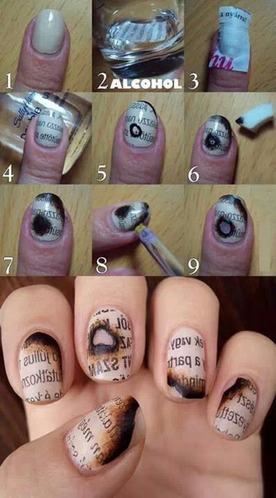 Diy Burned Nail Art Tutorial Nailshairmakeup Pinterest Art