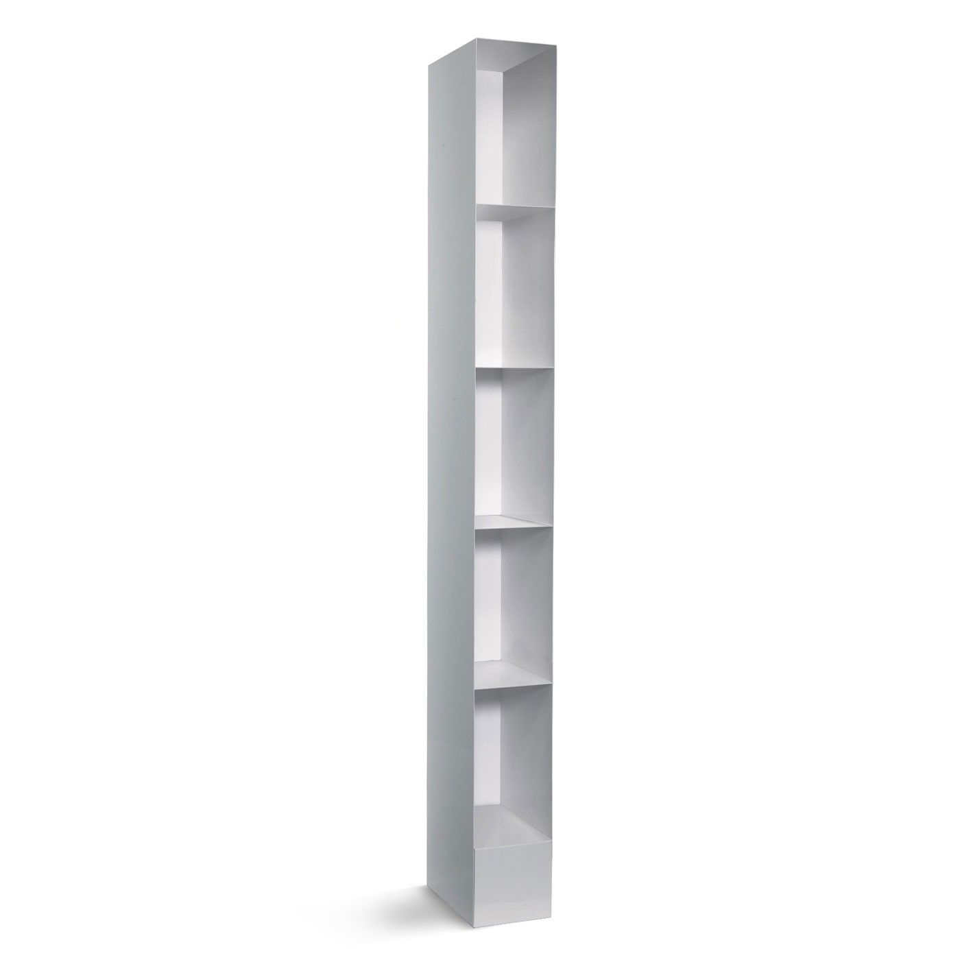 Totem Bookcase Is A Tall Narrow Available In Simple Black Or White Color Finishes Modern Crafted With Powder Coated Steel