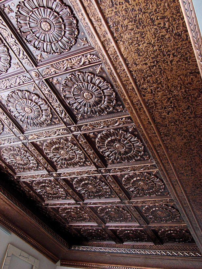 Rich textured ceiling Tin backsplash, Faux tin, Pvc wall