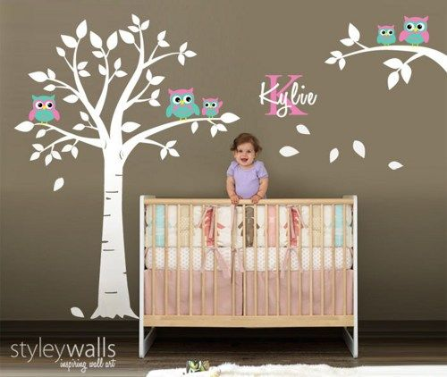Owl Wall Decal Owls Tree Wall Decal Nursery Wall Sticker Kids Baby Room  Wall Decal Owls On Branch Personalized Custom Name And Initial Decal