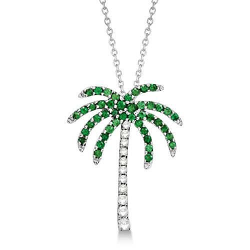 Tsavorite diamond palm tree necklace 14k white gold 030ct tsavorite diamond palm tree necklace 14k white gold 030ct allurez aloadofball Images