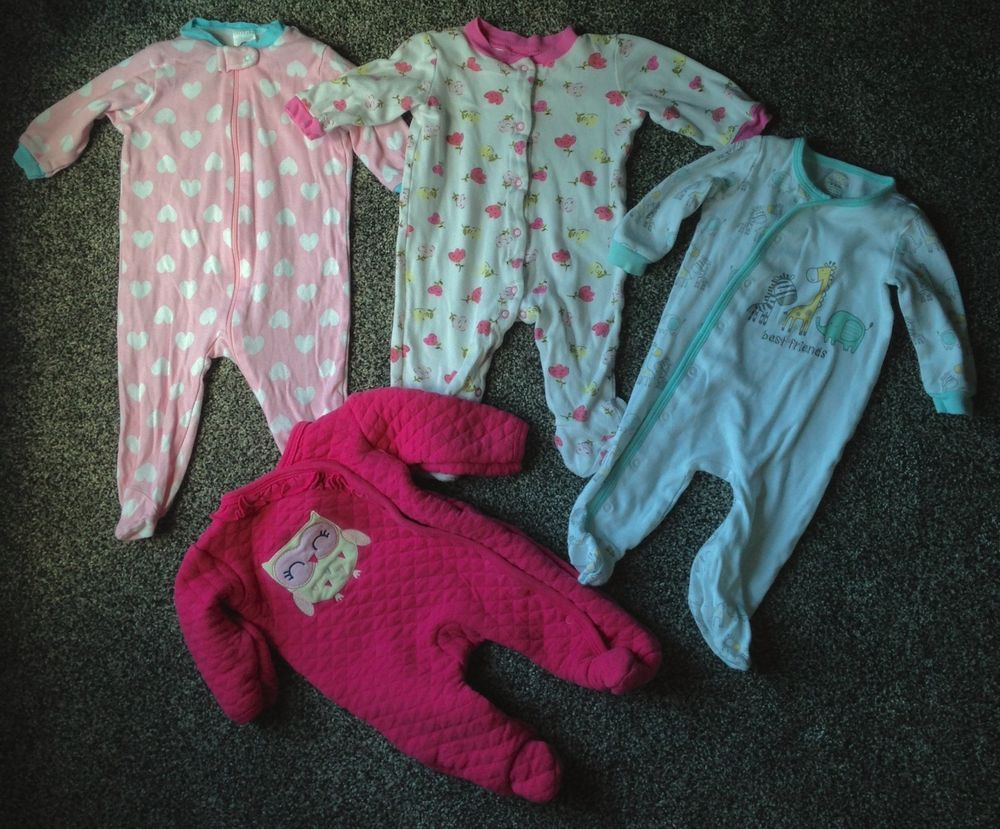 be78f3277 4pc lot BABY GIRL SLEEPERS 3-6 MONTHS pajamas floral 1quilted owl ...
