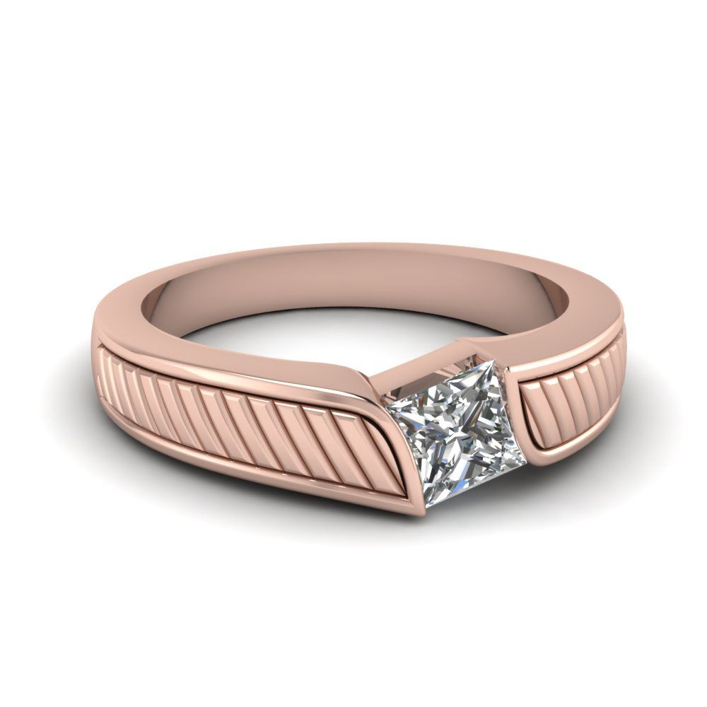 Solitaire Diamond Ring For Men Anniversary Gifts with Diamonds in 14K Rose Gold  exclusively styled by Fascinating Diamonds