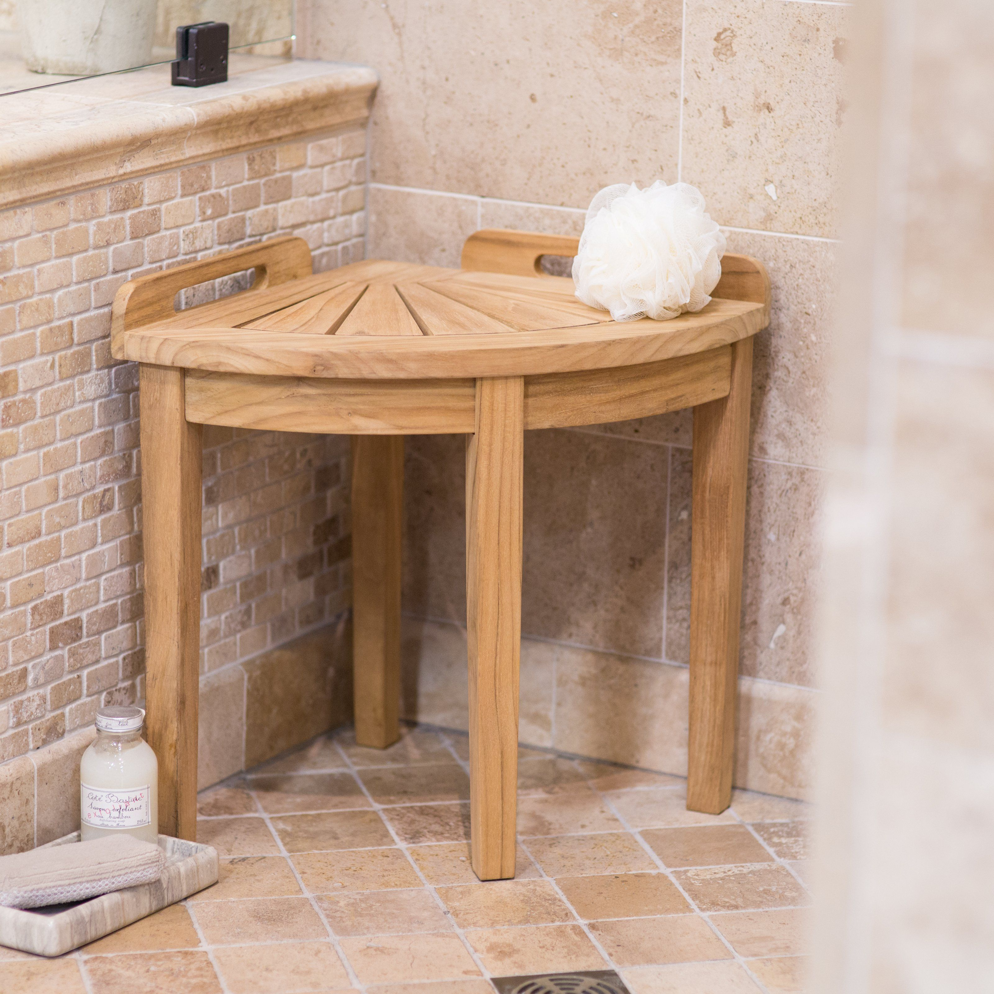 spa wood feel adds teak perfect stool in showering your finish to for like modern a bathroom experience corner seat with shower this walk shelf pin and