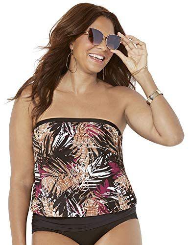 bd3e994289045 Swimsuits for All Women's Bayou Bandeau Blouson Top,#Bayou, #Women,  #Swimsuits, #Top