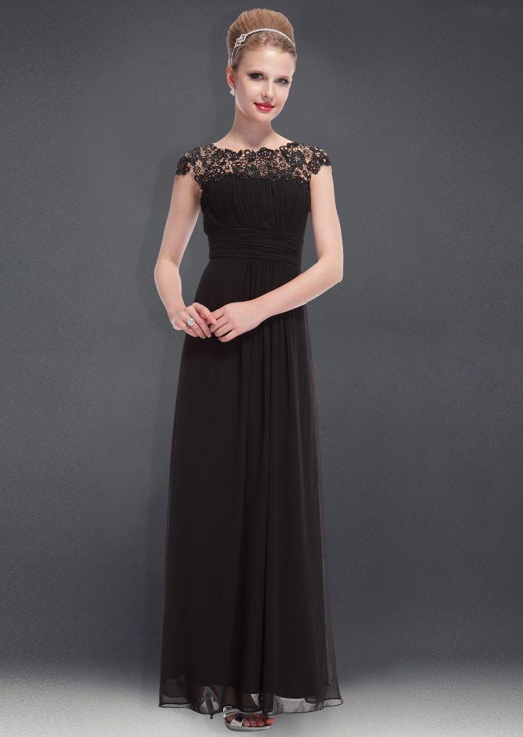Chiffon cap sleeves lace black illusion bridesmaid dressesblack