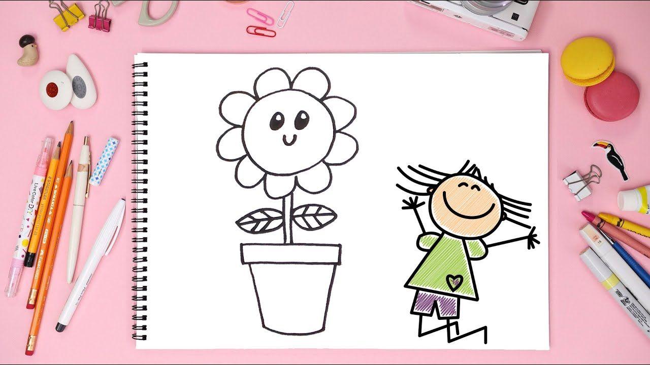 رسم زهرة داخل قصيص رسم للأطفال