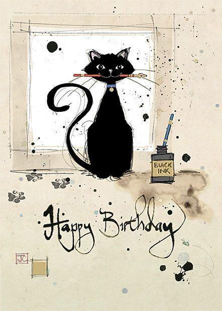 Ink Cat Bug Art Greeting Card Cat Birthday Card Cat Birthday Cat Greeting Cards