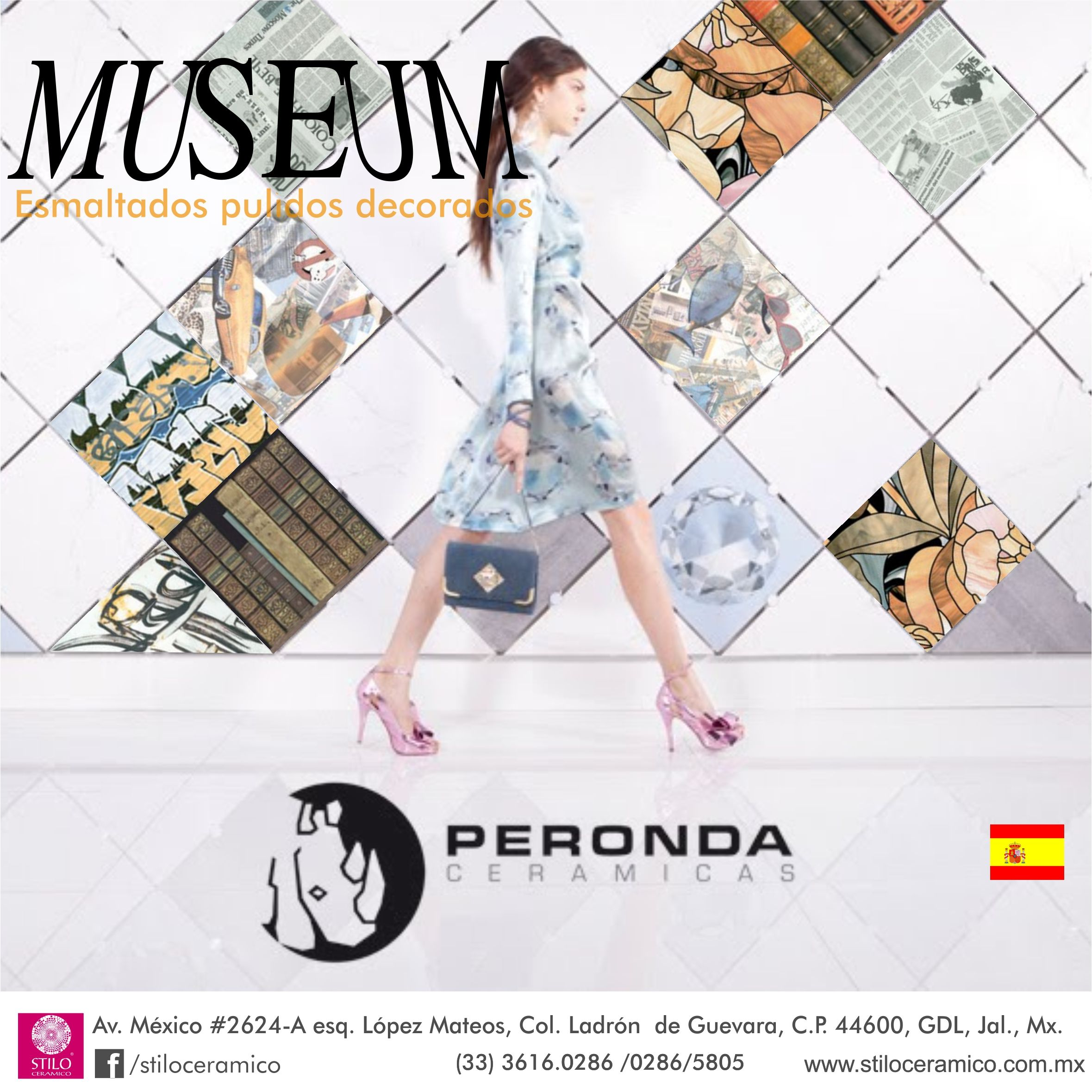 Museum de Peronda España, pisos y muros ceramicos esmaltados pulidos con diseños vitrificados. www.stiloceramico.com.mx