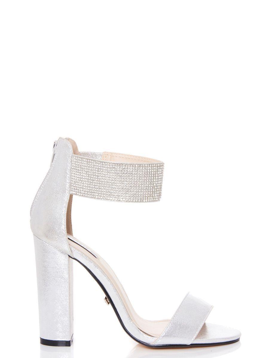 db887778ce1 Silver Diamante Ankle Strap Block Heel Sandals - Quiz Clothing ...