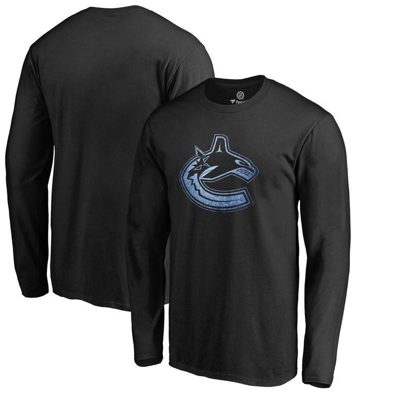 Vancouver Canucks Fanatics Branded Big & Tall Pond Hockey Long Sleeve T- Shirt - Black