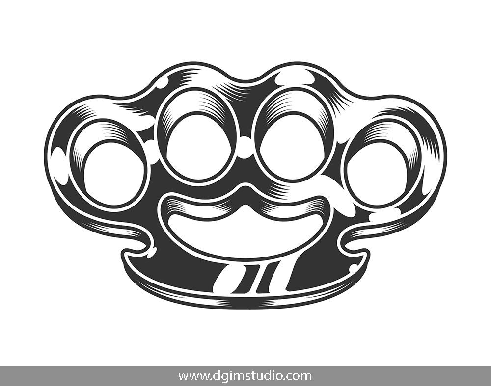 Gangster bundle Brass knuckles, Brass knuckles drawing
